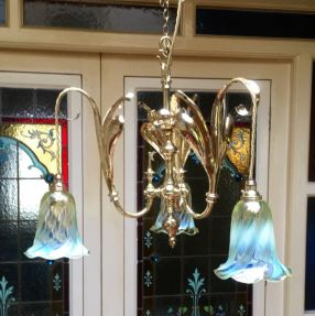 Period Art Nouveau 3 Branch Ceiling Light with Original Vaseline Glass Shades Drop 45cm Price SOLD