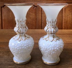 Baccarat White Opaline Gilded Vases Height 30cm Price SOLD