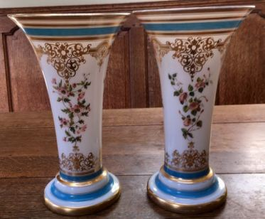 Pair Baccarat Decorated Vases Height 30cm Price SOLD