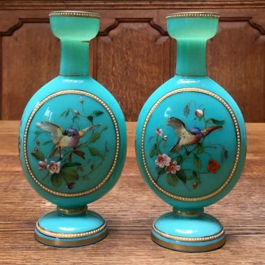 Opaline Glass Flask Vases Height 20cm Price SOLD