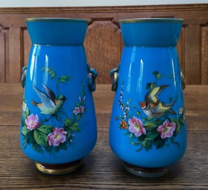 Pair Of Enamelled Opaline Glass Vases Height 22cm Price SOLD