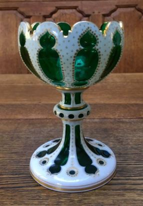 Bohemian Glass Footed Bowl Height 20cm Price SOLD