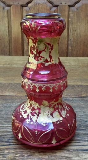 Red Bohemian Glass Night Set Height 25cm Price SOLD