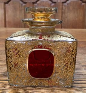 Large Bohemian Gilded Glass Perfume Bottle 12.5cm High x 10cm Wide Price SOLD