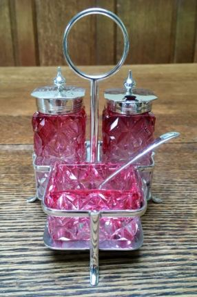 Cranberry Glass Cruet 1