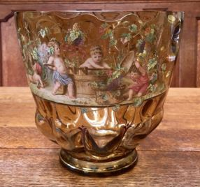 Enamelled Glass Bowl Height 22cm Price SOLD