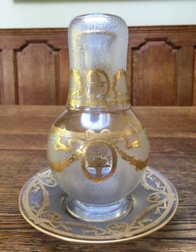 Gilded Etched Glass Night Set Height 22cm Price SOLD