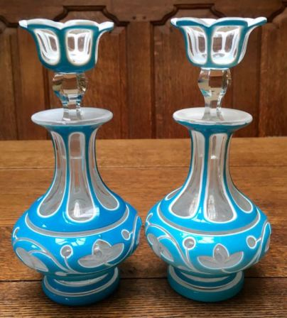 Pair of Blue Overlay Glass Perfume Bottles SOLD