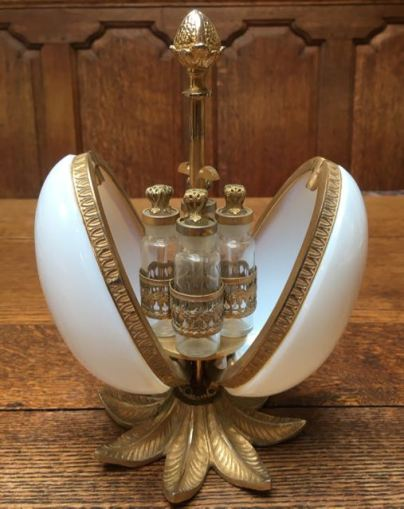 Large Opaline Glass Egg Casket with 4 Perfume Bottles Height 22cm Price SOLD