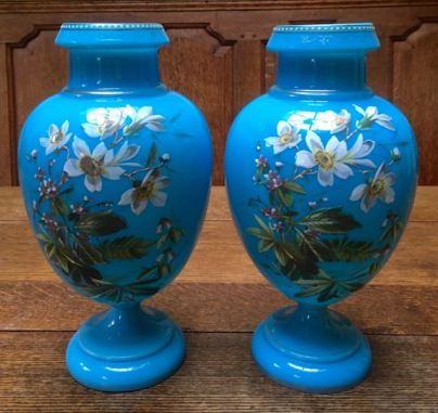 Pair of Blue Enamelled Opaline Glass Vases Height 28cm Price SOLD