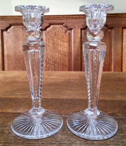 Pair Of Cut Glass Candlesticks Height 25cm SOLD