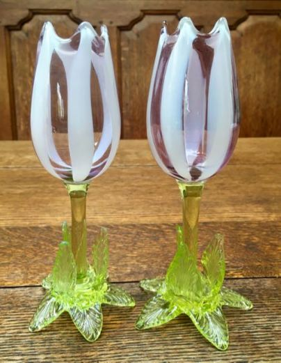 Pair Of Stourbridge Vaseline Glass Vases Height 17cm Price SOLD