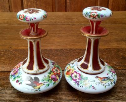Pair Of Bohemian Glass Overlay Perfume Bottles Height 15cm Price SOLD