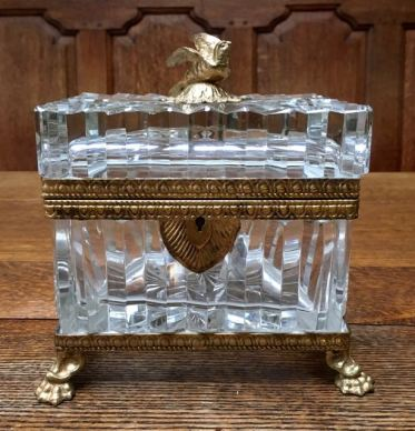 Large Cut Glass Box with Bronze Decoration and Mounts 17cm High x 16cm Wide Price SOLD