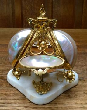 Large Outstanding MOP Palais Royale Perfume Stand With Opaline Glass Bottles 22cm x 22cm Price SOLD