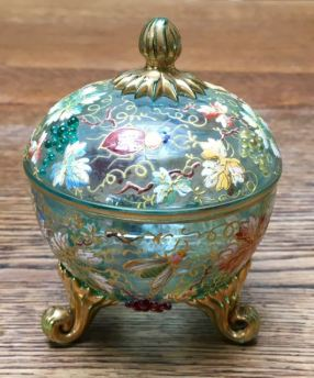 "Bohemian ""Moser"" Glass Lidded Pot Height 12 cm Price SOLD"