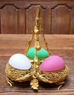 Opaline Glass Palais Royale Eggs 22cm High x 18cm Wide Price SOLD