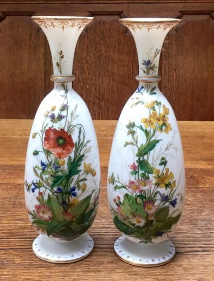 Fine Quality Pair of Opaline Glass Vases Height 30cm Price SOLD