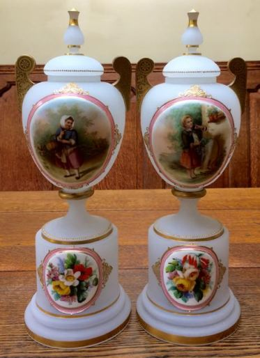 Pair Of Bohemian Opaline Glass Portrait Lidded Vases Height 40cm Price SOLD