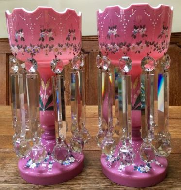 Pair Pink Opaline Enamelled Glass Lustres Height 37cm Price SOLD