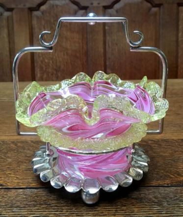 English Pink/Vaseline Glass Jam Stand Price Sold
