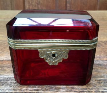 Cranberry Glass Box 10cm High x 12cm Wide SOLD