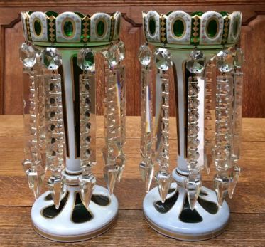 Green Overlay Gilded Bohemian Glass Lustres Height 30cm Price SOLD