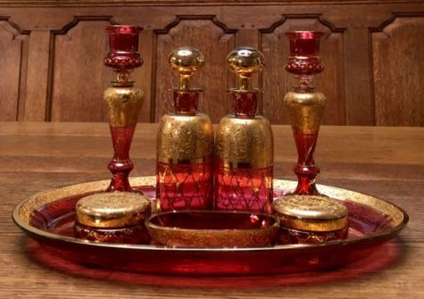Bohemian Cranberry Glass Dressing Table Set - Candlesticks 17cm High - Tray 32cm Wide Price SOLD