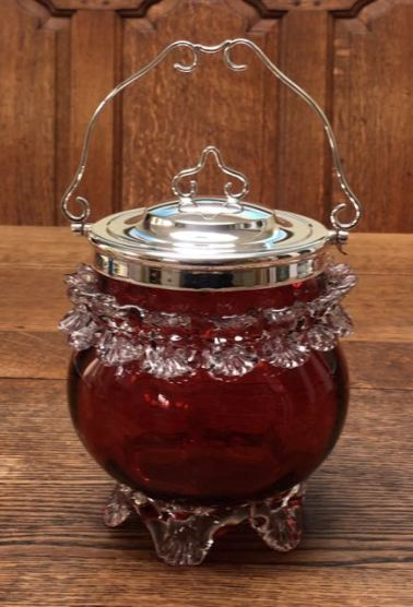 English Cranberry Glass Biscuit Barrel Height 25cm Price SOLD