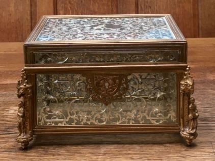 Fine Quality Silver Inlaid Casket Height 12cm x 18cm Wide Price SOLD