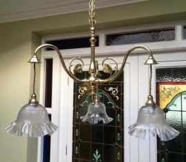 Art Nouveau Ceiling Light with Original Clear/Etched Shades Price SOLD