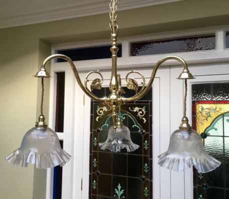 Art Nouveau Ceiling Light with Original Clear/Etched Shades Price £1100