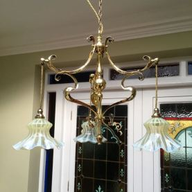 Art Nouveau Three Branch Ceiling Light with Original Vaseline Glass Shades Price SOLD