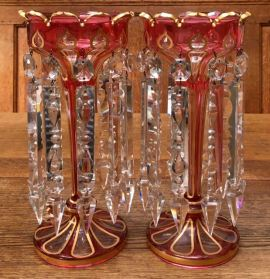Bohemian Cranberry/Clear Gilded Lustres Height 31cm Price SOLD