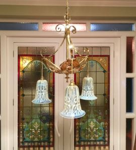 Outstanding Art Nouveau Ceiling Light with Original Vaseline Glass Shades Price SOLD