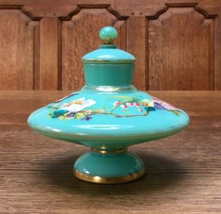 Opaline Glass Lidded Pot Height 15cm. Price SOLD