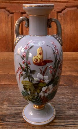 Fine Quality Opaline Enamelled Glass Vase Height 32cm Price SOLD