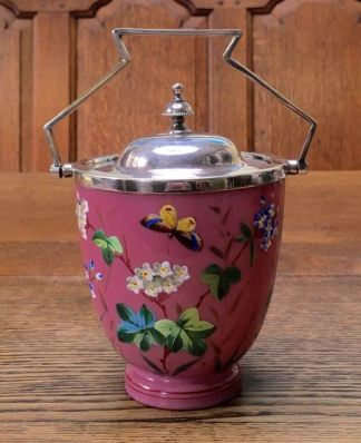 Pink Opaline Enamelled Glass Biscuit Barrel Height 18cm Price SOLD