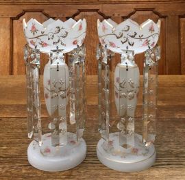 Pair of Opaline Glass Lustres Height 27cm Price SOLD