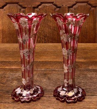 Bohemian Enamelled Glass Vases 1