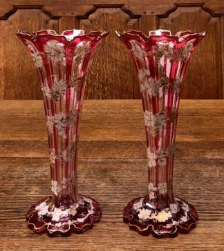 Bohemian Enamelled Glass Vases 1