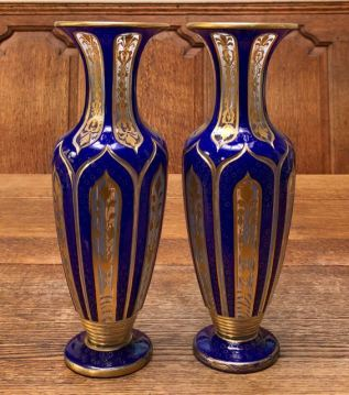 Pair of Bohemian Overlay Vases Height 30cm Price £1250