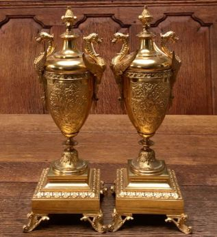 Pair Of Fine Quality Gilded Bronze Urns Height 36cm Price SOLD
