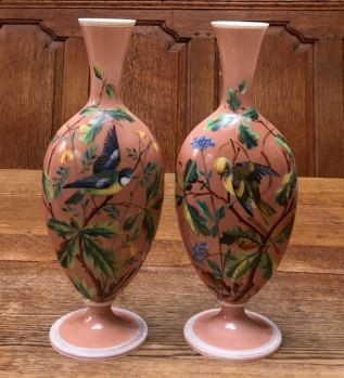 Pair Of Opaline Glass Decorated Vases Height 34cm Price SOLD