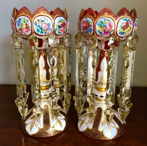 Fine Pair of Bohemian Glass Lustres with Flower Panels. Height 34cm. Price £1650