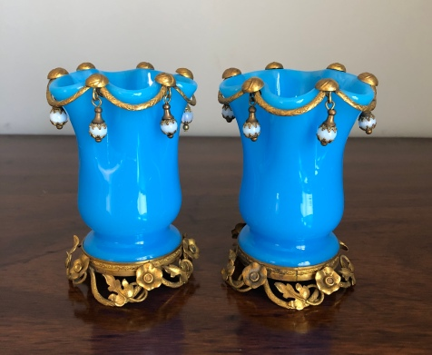 Unusual Gilt Metal Mounted Blue Opaline Glass Vases with Hanging Jewels. 11cm High Price £360