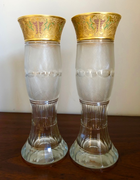 Fine Quality Cut Glass Vases with Gilded Enamelled Panel. Height 32.5cm Price £850